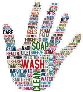 Hand shaped hygiene word cloud